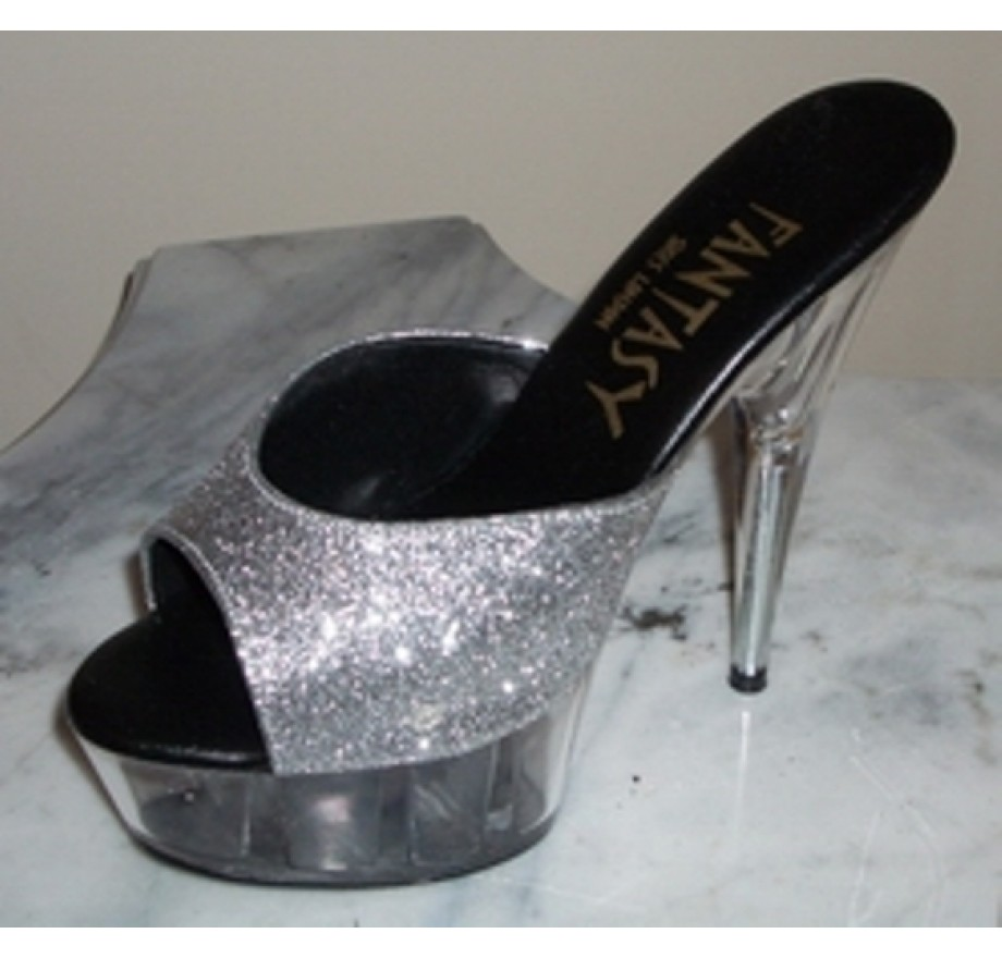 8725dfd5707 SILVER WITH CLEAR PLATFORM & HEEL