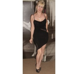 BLACK SHORT SEXY SLIT DRESS - Size 8-10