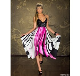 PINK & BLACK SATIN COCKTAIL DRESS - Sizes 10,12,14