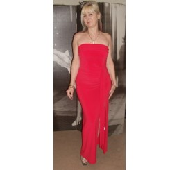 RED LONG CLASS BOOB TUBE DRESS - Size 10-12