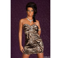 LEOPARD PRINT MINI DIAMANTE DETAILED DRESS - Size 8-10