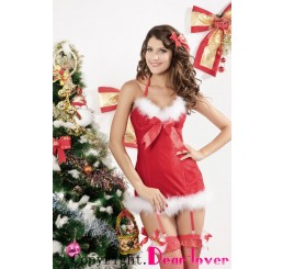 RED SHORT GARTER CHRISTMAS DRESS - O/S WILL FIT SIZES 10-12