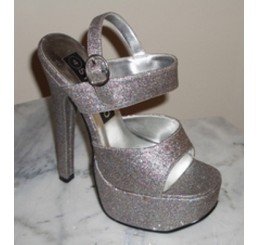 SILVER PEWTER STRAPPY PLATFORM SHOE