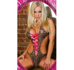 LEOPARD & HOT PINK TEDDY - Size - 8-12