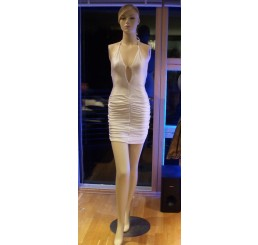 SHORT RUCHED DRESS, FROM PANACHE-WHITE