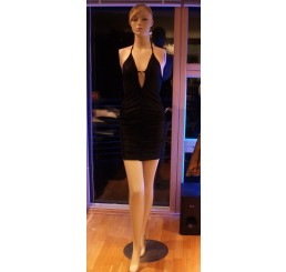 SHORT RUCHED DRESS, FROM PANACHE-BLACK