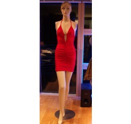 SHORT RUCHED DRESS, FROM PANACHE-RED
