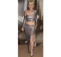 SILVER LONG 2 PIECE SKIRT - Size 8-10