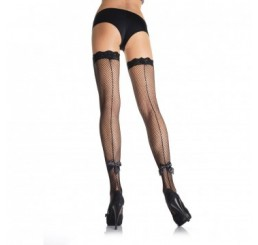 WHITE FISH NET THIGH HIGHS WITH BACK SEAM AND ANKLE BOW