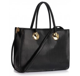 BLACK GRAB TOTE HANDBAG