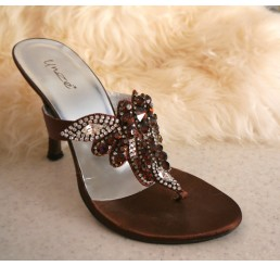 BROWN JEWELLED SLIP ONS SHOES