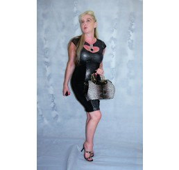DALIA BLACK METALIC SILVER CONTRAST PANEL NECK PENDANT BODYCON DRESS