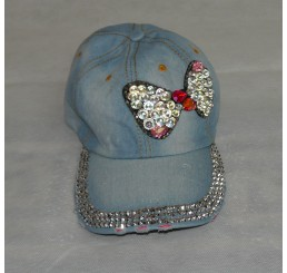 BLINGY CRYSTAL BOW DENIM CAP