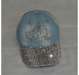 BLINGY SILVER STUD DENIM CROWN CAP