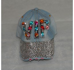 BLINGY DENIM JEWELLED VIP CAP