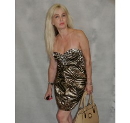 LEOPARD PRINT MINI DIAMANTE DETAILED DRESS - Size 8-10