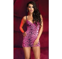 PINK LEOPARD SPANDEX MINI DRESS