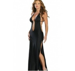 BLACK SEXY HALTER PLUNGING EVENING GOWN - SIZE 12-14