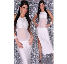 WHITE PRECIOUS DIVA GOWN WITH RHINESTONES - O/S WILL FIT SIZES 8-12