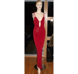 RED LONG DIAMANTE DETAIL DRESS -SIZES - 8-10 or 10-12