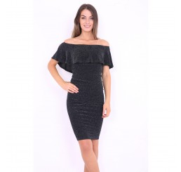 Lurex Frill Off The Shoulder Bardot Dress in Black