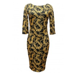 BLACK AND CHAIN PRINT MIDI  3 QUARTER LENGTH SLEEVED DRESS IN SIZES 8, 10, 12, 14