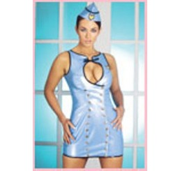 AIR HOSTESS COSTUME IN BLUE PVC